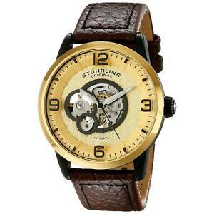 【送料無料】腕時計 レガシーメンズブラウンカーフスキンウォッチstuhrling legacy 648 mens 43mm automatic brown calfskin krysterna watch 64803