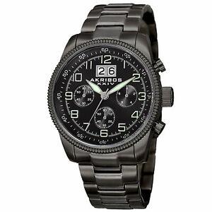 【送料無料】腕時計 ブラッククロノグラフビッグデイトステンレススチールウォッチ