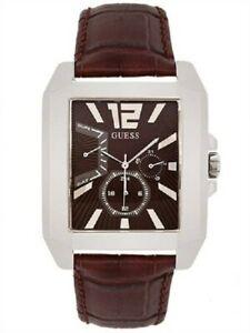 【送料無料】腕時計 ブラウンレザーストラップシルバーステンレスケース authentic guess u13537g2 brown leather strap silvertone stainless case watch