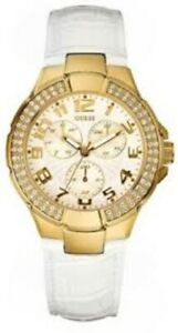 【送料無料】腕時計 ゴールドホワイトレザーストラップウォッチタグ authentic guess white leather strap gold watch u12564l3 with tag