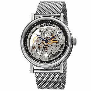 【送料無料】腕時計 スケルトンシルバートーンステンレススチールウォッチmens akribos xxiv ak732ssb automatic skeleton silvertone stainless steel watch