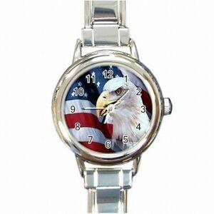 【送料無料】腕時計 ハクトウワシアメリカプライドアメリカレディースブレスレットウォッチbald eagle american pride usa flag womens bracelet watch