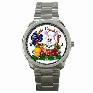 【送料無料】腕時計 バニーウサギイースターバスケットステンレススチールウォッチbunny rabbit easter basket holiday stainless steel watch