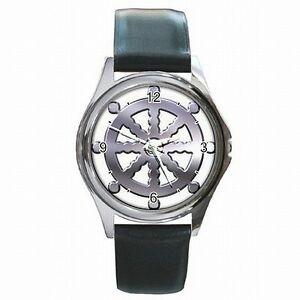 【送料無料】腕時計 ダルマレザーウォッチホイールbuddhism wheel of dharma buddhist leather watch