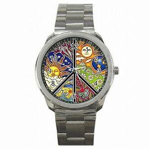 【送料無料】腕時計 ピースサインシンボルアクセサリステンレススチールウォッチpeace sign symbol sixties antiwar accessory stainless steel watch