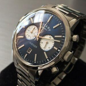 【送料無料】腕時計 エイヴンクロノグラフスチールmens rotary watch aveneger gb0273005 navy blue chronograph steel genuine