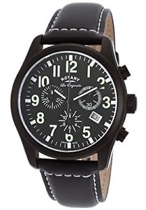 【送料無料】腕時計 ロータリーメンズステンレススチールクオーツブラックレザーストラップブラックウォッチ