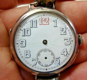 【送料無料】腕時計 シルバーケースww1 silver cased trench wristwatch