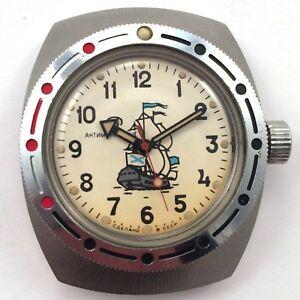 【送料無料】腕時計 ビンテージロシアヴォストークダイバーウォッチvintage russian vostok amphibian collectible diver watch *us seller* 1018