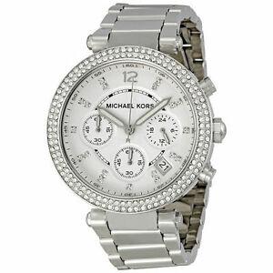 【送料無料】腕時計 ミハエルパーカー¥アナログシルバークロノグラフウォッチmichael kors mk5353 parker crystal silver chronograph analogue watch rrp 229