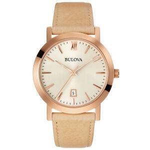 【送料無料】腕時計 メンズローズレザーウォッチbulova mens rose leather watch 97b144
