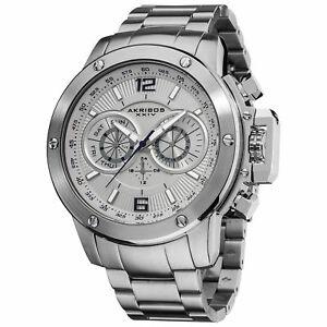 【送料無料】腕時計 スイスマルチファンクションシルバートーンスチールウォッチ mens akribos xxiv ak604wt bold swiss multifunction silvertone steel watch