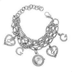 【送料無料】腕時計 シルバーステンレススチールブレスレット authentic guess w13529l1 silver tone stainless steel charm bracelet watch