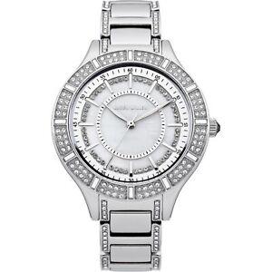 【送料無料】腕時計 パールシルバースワロフスキーステンレススチールカレン¥ウォッチkaren millen mother of pearl silver swarovski stainless steel watch rrp 185