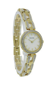【送料無料】腕時計 ステンレススチールラウンドbulova crystals 98l213 womens round mother of pearl stainless steel watch