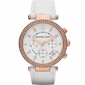 【送料無料】腕時計 ミハエルパーカークロノグラフホワイトレザーローズゴールドウォッチ¥michael kors mk2281 parker chronograph white leather rose gold watch rrp 229