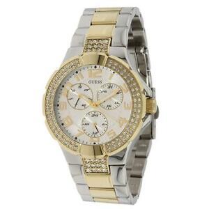 【送料無料】腕時計 プリズムスワロフスキートーンゴールドブレスレットウォッチ guess prism swarovski 2 tone ss amp; gold bracelet lady watch date day u14007l1