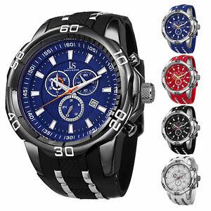 【送料無料】腕時計 メンズジョシュアクォーツクロノグラフシリコンストラップウォッチスポーティmens joshua amp; sons js50 quartz sporty chronograph date silicone strap watch
