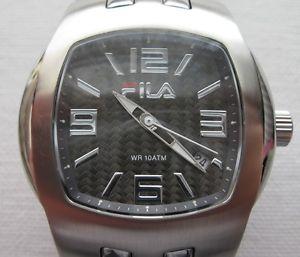 【送料無料】腕時計 クォーツソリッドリンクブレスレットファイバfila gents quartz watch 320g with solid links bracelet, date,wr10atm,cfiber