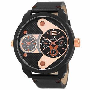 【送料無料】腕時計 メンズジョシュアタイムゾーンスモールセコンドレザーウォッチmens joshua amp; sons jx107bkr two time zones small seconds date leather watch