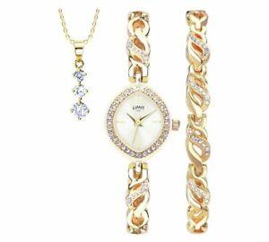 【送料無料】腕時計 レディースネックレスレディースブレスレットセットlimit ladies gold coloured watch, pendant and bracelet set best gift for ladies
