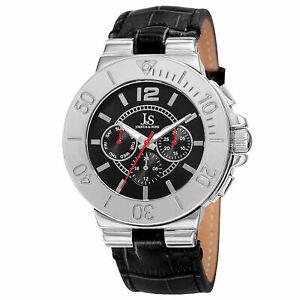 【送料無料】腕時計 メンズジョシュアタイムゾーンレザーストラップウォッチmens joshua amp; sons js96ssb two time zone date complication leather strap watch