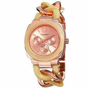 【送料無料】腕時計 クォーツマルチツイストチェーンウォッチ womens akribos xxiv ak641rg quartz multifunction resin twist chain watch