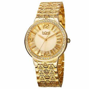 【送料無料】腕時計 バールスイスアクセントゴールドトーンウォッチ womens burgi bur115yg swiss quartz crystals accented mop goldtone watch