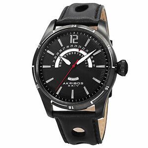 【送料無料】腕時計 ブラックレトログラードレザーストラップウォッチ