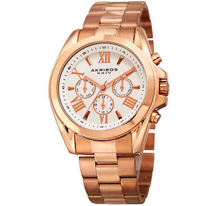 【送料無料】腕時計 マルチファンクションローズゴールドトーンステンレススチールウォッチakribos xxiv womens ak951rg multifunction rose gold tone stainless steel watch