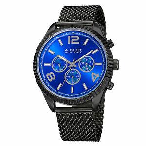 【送料無料】腕時計 シュタイナータイムゾーンタキメータースチールメッシュmens august steiner as8196bkbu two time zone date tachymeter steel mesh watch