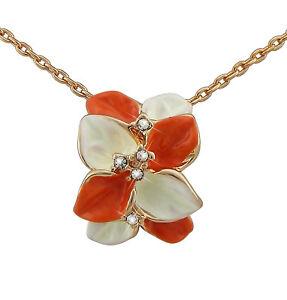 【送料無料】アクセサリー ネックレスレディスネックレスピンククリスマスピンクlas seoras flor de collar joyera oro rosado plateado regalo flores para navidad