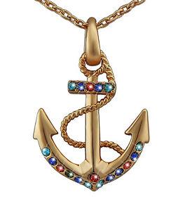 【送料無料】アクセサリー ネックレスクリスマスローズゴールドゴールドペンダントネックレスアンカーlas seoras joyera oro ros regalo de collar de colgante de ancla de oro navidad