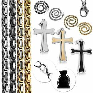 Collar con remolque set cadena tanques cadena rey cadena de acero inoxidable macizo Cruz