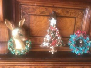 【送料無料】アクセサリー ネックレスビンテージクリスマスツリートナカイピンvintage christmas lot reindeer wreath tree pins natale one mylu