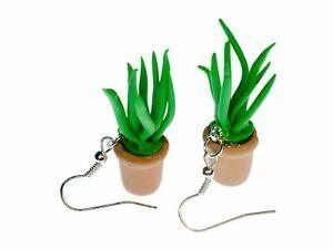 【送料無料】アクセサリー ネックレスアロエベライヤリングハンドメイドaloe vera planta pendientes flores miniblings de maceta katzengras hecho a mano