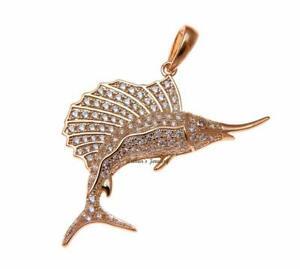 送料無料 アクセサリー 好評 ネックレスピンクゴールドメッキスターリングシルバーペンダントマーリンハワイchapado en oro rosa plata hawi ley 限定品 marlin pescado de 925 colgante