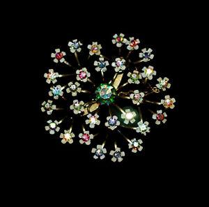 送料無料 アクセサリー ネックレスブローチコレクションオーロラde coleccin con flor broche en aurora boreal pedrera metal latn 1940s1950SUMVpz