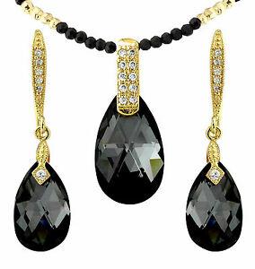 【送料無料】アクセサリー ネックレスクリスタルセットnegro y oro lgrima cristal joyera setelemento swarovskiacabado 18k