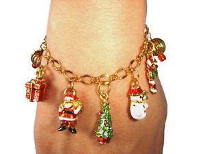 【送料無料】アクセサリー ネックレスクリスマスメリークリスマスゴールドブレスレットnuevo regalo de navidad feliz navidad pulsera con dijes de oro plateadocolorido