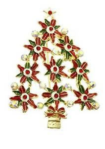 【送料無料】アクセサリー ネックレスクリスタルボックスポインセチアクリスマスツリーブローチnuevo rojo verde ab cristal poinsettia flor rbol de navidad broche en caja de regalo