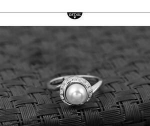【送料無料】アクセサリー ネックレスパールリングkホワイトゴールドクリスマスmujer anillo de perla oro blanco 18k chapado compromiso regalo navidad