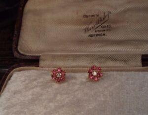 【送料無料】アクセサリー ネックレスピンクヴィンテージローズクリアガラスゴールドメッキイヤリングvintage rose rosa y claro cristal y flor aretes chapado en oro