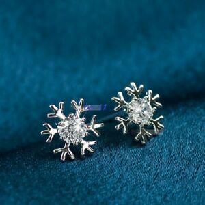 【送料無料】アクセサリー ネックレスクリスマスガラスシルバーボタンカップルフレーク1 par copos de nieve pendiente de botn plata chapado cristal navidad
