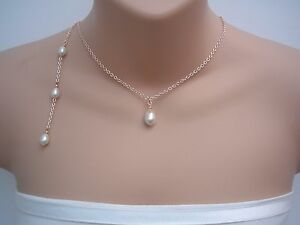 【送料無料】アクセサリー ネックレスティアドロップパールネックレスバックドロップピンクゴールドチェーンv7 cadena de oro rosa de la perla en forma de lgrima collar de novia boda espalda gota de
