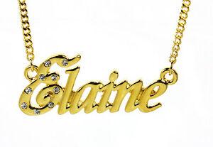 【送料無料】アクセサリー ネックレスゴールドメッキクリスマスネックレス18k chapado en oro con collar con nombre elainepersonalizado dama navidad