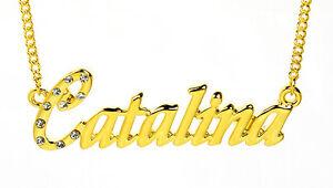 【送料無料】アクセサリー ネックレスゴールドメッキネックレスチェーンクリスマスカスタム18k chapado en oro con collar con nombre catalinanombre cadena personalizados navidad
