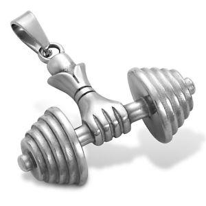 送料無料 アクセサリー ネックレス ステンレススチールネックレスペンダントダンベルフィットネスボディービルボックスuomini collana ciondolo in acciaio inox con manubri mano fitness bodybuilding gratiQdthrCxs