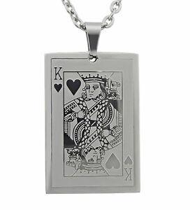 【送料無料】アクセサリー ネックレス ネックレスキングステンレススチールペンダントクリスマスcollana cuore incisione re in acciaio inox ciondolo argento regalo per natale
