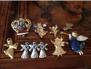 【送料無料】アクセサリー ネックレス クリスマスロットピンツリーエンジェルクリスマスバッチビンテージchristmas lot pins tree angel lotto natale vintage